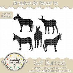 Donkey Set, Set Burros, Montaria, Ride, Animal da Fazenda, Farm Animal, Animales de Hacienda, Corte Regular, Regular Cut, Silhouette, Arquivo de Recorte, DXF, SVG, PNG