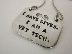 Veterinary Technician Hand stamped by ChristinesImpression on Etsy, $16.00