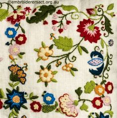 Detail 2 from Crewel Smithsonian Cushion stitched by Lorna Loveland