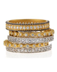 Freida Rothman Five-Stack Mixed Bezel Eternity Rings, Women's, Size: 7, Gold