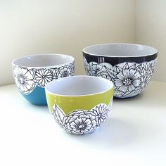 Ceramic Nesting Bowls Spring Flowers Hand Painted Black White Blue Green Illustrated Botanicals | Cargoh