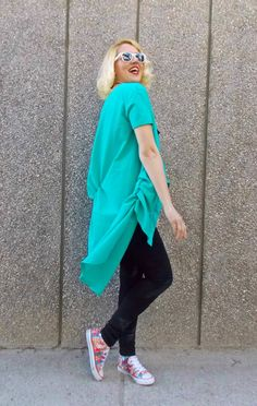 Turquoise Cotton Blouse / Turquoise Summer Shirt / Loose by Teyxo