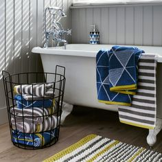 Brighten your home with the Scandi Pop trend Grey Bathrooms, White Bathroom, Scandi Style, Clawfoot Bathtub, Fall Season, Wood Paneling, Ideal Home, Grey And White, Beautiful Homes
