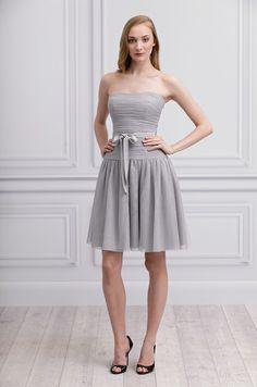 Gray bridesmaid's dress from Monique Lhuillier, Spring 2013