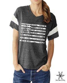 Flag boho slouchy Powder Puff t shirt tshirt by LittleAtoms
