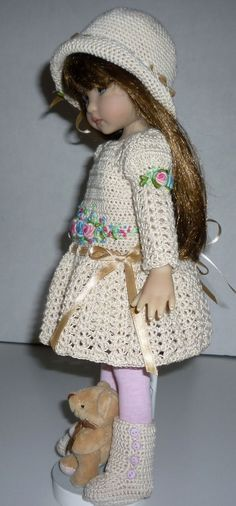 """Fits Dianna Effner Little Darling 13"""" - Meadows 14"""" - Betsy McCall 14"""" - Madame Alexander 13"""" and dolls similar in size and shape. The dress is hand crocheted with 100% Ecru fine cotton thread, embroidered with roses and adorned with ribbon. 