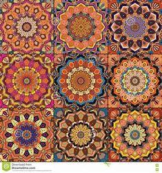 Illustration of Orange Square Tile Boho Pattern. Elaborate patchwork from mandala ornament vector art, clipart and stock vectors.