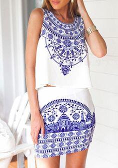 Porcelain Print Co-Ord Skirt Set