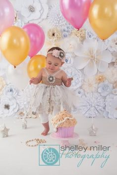 Vintage cake, flower background, tutu, and adorable one year old!  One of my favs.  www.shellpix.com