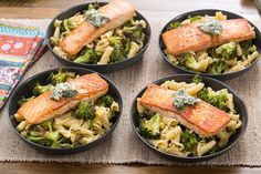Seared Salmon & Campanelle Pasta with Roasted Broccoli & Lemon-Herb Butter. Visit https://www.blueapron.com/ to receive the ingredients.