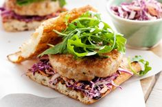 Serve these tasty chicken burgers with crunchy red cabbage slaw.