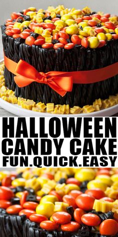 EASY HALLOWEEN CAKE RECIPE- Quick, easy, unique, diy cake decorating tutorial, fun idea for adults and kids Halloween party. Loaded with leftover Halloween candies. From CakeWhiz.com #cake #halloween #dessert #dessertrecipes #candy #cakedecorating