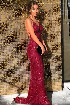 Mermaid V-Neck Spaghetti Straps Sparkling Long Prom Dress Formal Evening Dresses 601410 Backless Mermaid Prom Dresses, Fitted Prom Dresses, Deb Dresses, Straps Prom Dresses, V Neck Prom Dresses, Beautiful Prom Dresses, Formal Evening Dresses, Ball Dresses, Evening Gowns