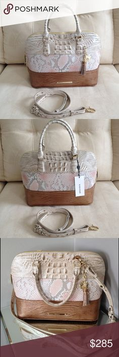 """NWT, Brahmin Vivian Dome Satchel Pink Madera Classic, ladylike elegance!  Versatile style can be carried by double handles (4.5"""" drop) or removable, adjustable shoulder strap (22.5"""" strap drop).  Double zip closure, footed bottom, interior zip pocket, zip jewelry pocket, two organizer pockets and dust bag.  Brand new with tags attached!  This is truly a 5-Star 👛 Brahmin Bags Satchels"""