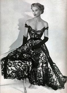 Off The Shoulder...Black & White Vintage Lace