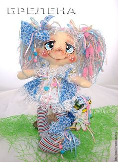Текстильная кукла Домашняя феечка Незабудка. - оберег,обереги в подарок Rag Dolls, Fabric Dolls, Puppet Tutorial, Painted Faces, Soft Dolls, Soft Sculpture, Beautiful Dolls, Puppets, Pattern
