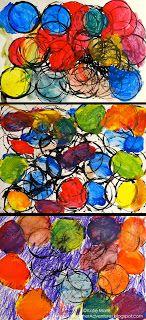 Cirkels stempelen en later met verf in primaire kleuren mengen op het papier. Tip: kwast steeds even schoonmaken op spons ipv met papier.