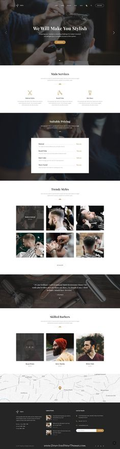 Hairy is clean and modern design PSD template for #salon and #barber shop website with 3 homepage layouts and 36 layered PSD pages to live preview & download click on Visit #hairstyles