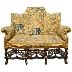 EXTREMELY RARE PERIOD ENGLISH 17TH CENTURY SETTEE  England  Circa 1670  Period English Walnut 17th Century Settee with Period Custom Tapestry Covering Contemporary To and Made For the Piece  SOLD