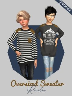 Kids Oversized Sweater by spnsimmer 7 Swatches All Unisex HD Leather Fabric Patches Easy & Fast Downloads (no ads) Mesh by Symphany.com, you need it! - [x] TOU: 1. Don't claim as your own! 2. Don't...