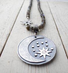 Labradorite Night Sky || metalsmith moon and stars pendant on labradorite necklace (6105) Star Pendant, Pendant Necklace, Pink Moon, Metal Necklaces, Silver Stars, Copper Jewelry, Night Skies, Sterling Silver Pendants, Labradorite