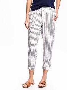 0a89df6395a Mid-Rise Linen Crop Pants for Women Cropped Pants