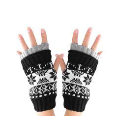Allegra K Men Knitting Thumb Hole Warm Stylish Fingerless Gloves Dark Red