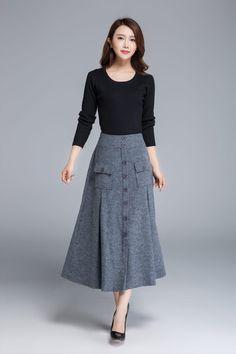 grey skirt wool skirt button skirt midi skirt warm by xiaolizi $99