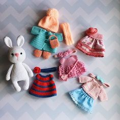 Stuffed bunny set/Bunny doll with clothes/Stuffed animals/Plush bunny/Bunny with outfits/Bunny and accessories/Doll with clothes/Baby gift – Amigurumi Love