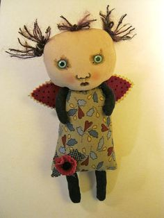 Fairy doll,angel art doll , Sandy Mastroni ,wings, whimsical, wall art, shelf art,