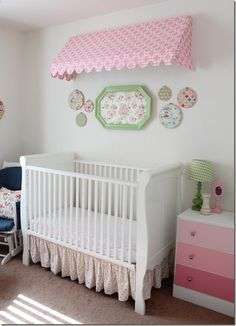 Baby Room - While I no longer have a baby, I am in love with so many things from this room - the awning, simple fabric in frames, lamp vignette on the dresser......