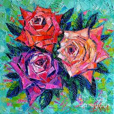 Abstract Bouquet Of Roses by Mona Edulesco