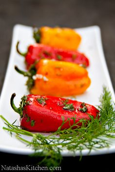 Marinated mini bell peppers  Ingredients: 1.5 lb mini bell peppers (one bag from Costco) 2 Tbsp oil to sauté 1 cup chopped parsley divided 1 cup chopped dill divided 6 pressed garlic cloves 6 Tbsp sugar 2 Tbsp salt 1¼ cup white vinegar 1 cup cold water