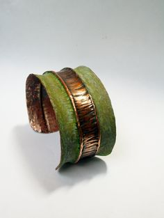 Green Patina Stripe Fold Formed Hammered Copper Cuff.  Gorgeous! I love that you can beat the crap out of copper and end up with something amazing :-P
