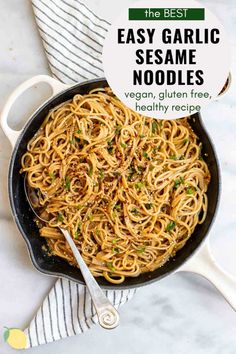 Easy dinners are the best dinners. These garlic sesame noodles are a healthy, vegan and gluten free recipe that takes just 15 minutes to make! It's perfect with some chicken, vegetables, tofu, or just as is. Gluten Free Recipes For Dinner, Dinner Recipes, Vegan Sesame Noodles, Asian Recipes, Healthy Recipes, Ethnic Recipes, Garlic Noodles, Thai Noodles, Teriyaki Tofu