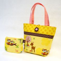 Riley Blake Fabric Little Girls Purse Mini Tote Bag and Coin Purse Set  #rileyblakedesigns #hoosintheforest #doohikeydesigns