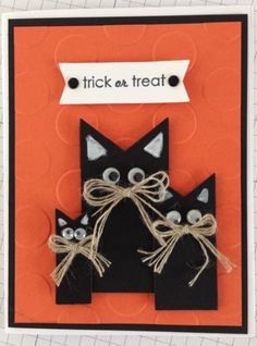 handmade card ... Halloween Kitties ... adorable black cats from fish tail die cuts ... luv the twine bows serving as whiskers ... delightful!!