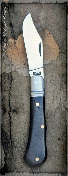 Wayne Morgan Knives. Stabilized giraffe bone handle, Steel Bohler K460 - O1.