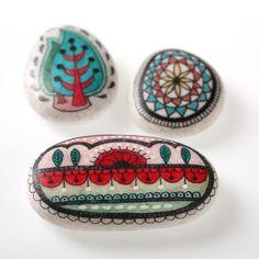 15 \/ cypress, mandala and mehndi pattern handpainted on sea stones