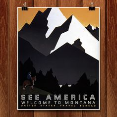 """See America: Welcome to Montana National Park poster. This is a WPA Federal Art Project poster for the United States Travel Bureau shows a man on horseback facing a mountain range in Montana. """"See Ame Montana National Parks, Wpa Posters, Tourism Poster, National Park Posters, Unique Wall Art, Illustrations, Retro Illustration, Vintage Travel Posters, Grafik Design"""