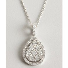 Armadani White Gold And Diamond Teardrop Pendant Necklace ($2,975) ❤ liked on Polyvore
