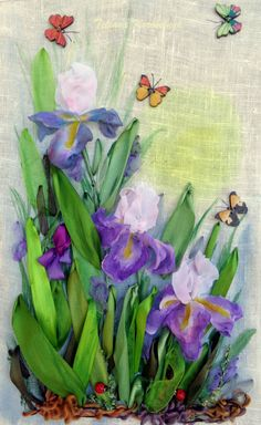 "picture ""Irises"",  Silk ribbon embroidery"