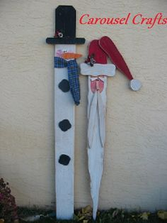 Cute Wood Craft of Snowman and Santa by Carousel Crafts
