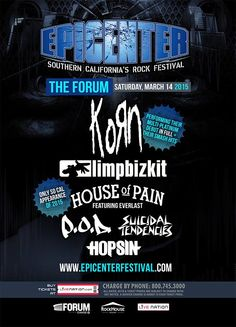 #limpbizkit performing at #epicenterfestival The Forum 14 March 2015