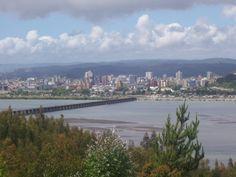 Concepción skyline from San Pedro de la Paz, across Biobio River (Chile)