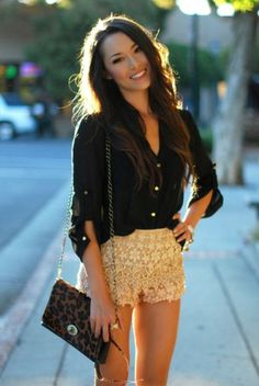 Style Duo: Shorts and Button Downs... gold lace shorts and black classic button down