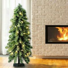Christmas Home Decor 4Ft Green Cedar Artificial Christmas Tree With Clear Lights #HomeDealsMarket #Christmas Christmas Tree Storage, Pre Lit Christmas Tree, Desktop Decor, White Cedar, Cedar Trees, Xmas Decorations, White Light, Light Colors, Steel Plate