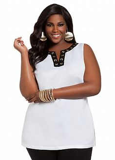 Ashley Stewart: Solid Linen Top with Grommet Accents
