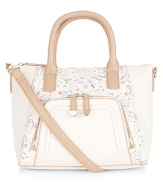 Stone Floral Print Panel Zip Pocket Front Tote Bag | New Look