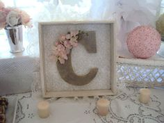 "Shabby chic baby ""C"" plaque for nursery"